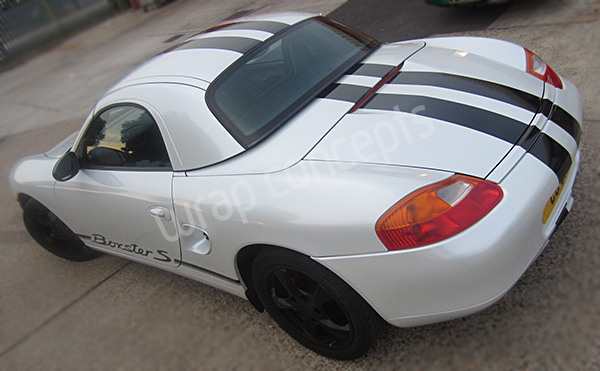 Boxster Pearl White car wrap london